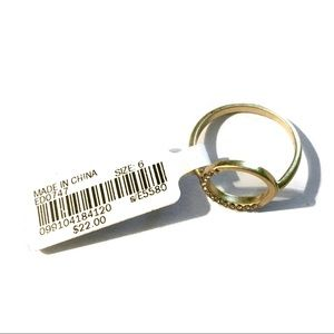 NEW Madewell Gold-Plated Brass Cubic Zirconia Ring